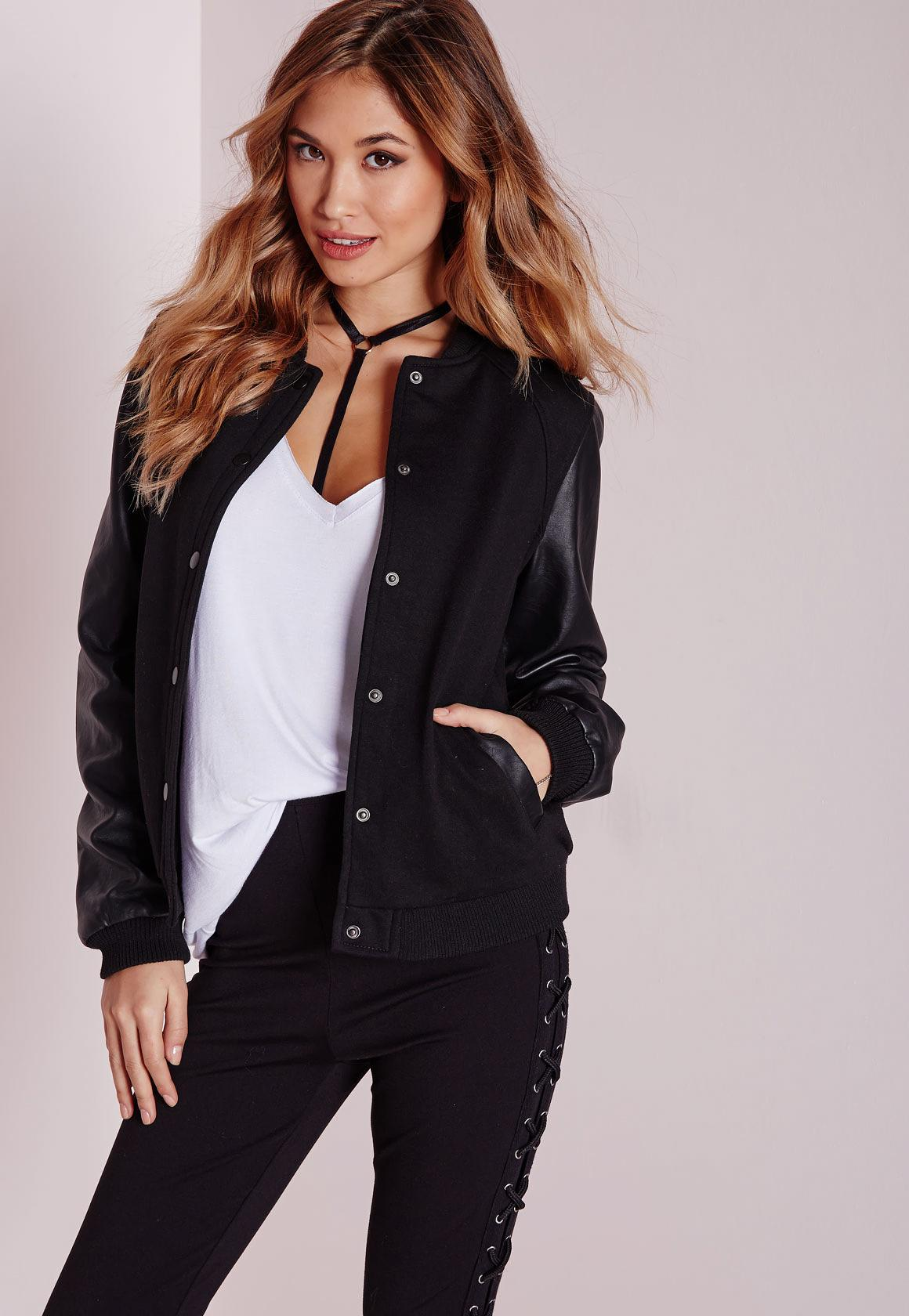 Faux Leather Sleeve Bomber Jacket Black   Missguided