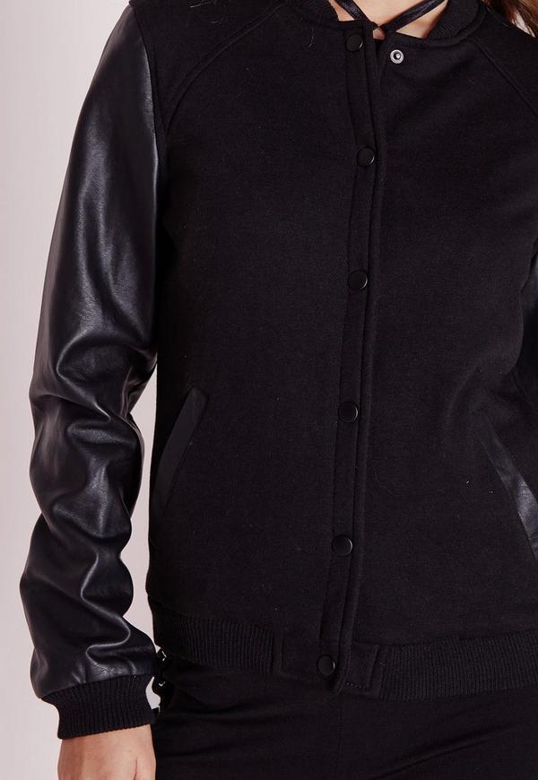 Faux Leather Sleeve Bomber Jacket Black