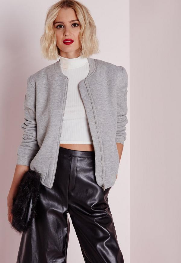 Ponte Bomber Jacket Grey Marl