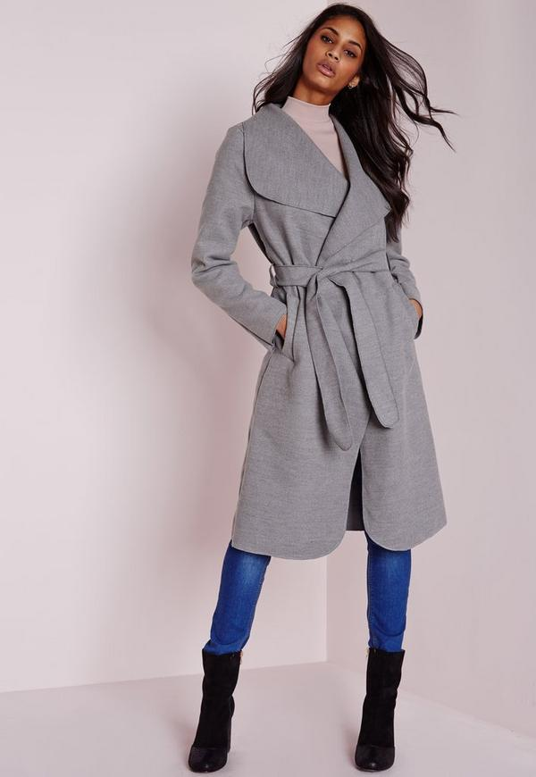 Long Belted Waterfall Coat Light Grey