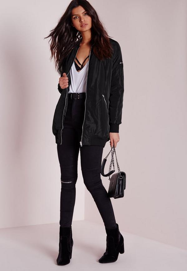Longline Padded Bomber Jacket Black Missguided