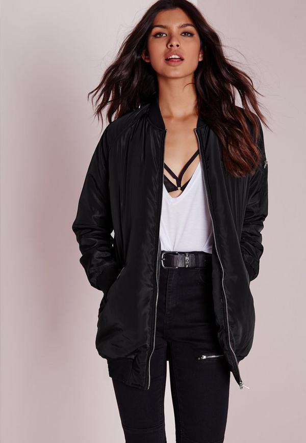 Black padded longline jacket
