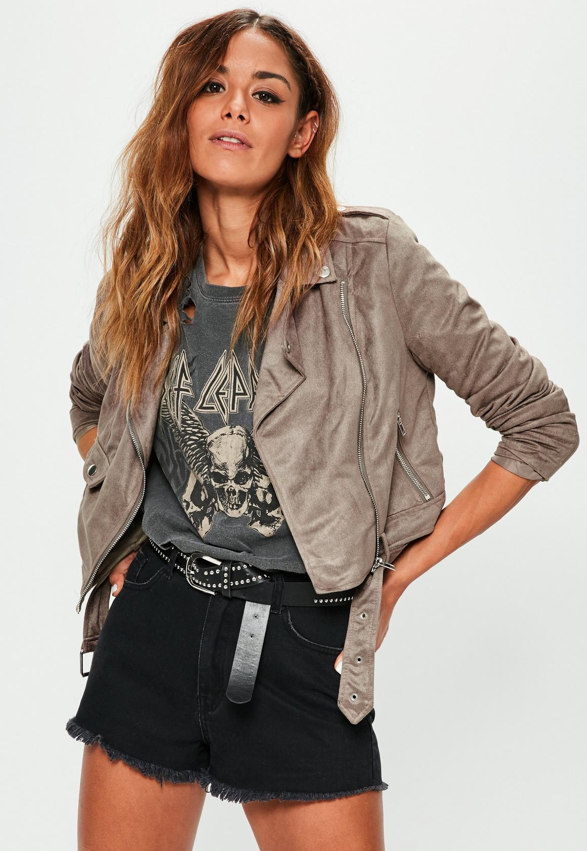Brown Faux Suede Biker Jacket | Missguided