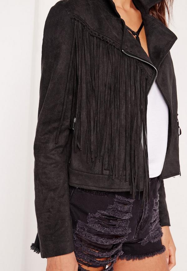 veste biker franges en faux daim noir missguided. Black Bedroom Furniture Sets. Home Design Ideas