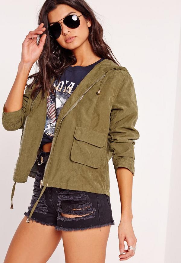 Cropped Utility Hooded Jacket Khaki