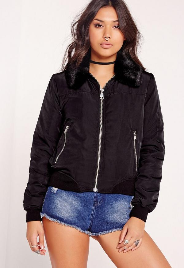 Faux Fur Collar Bomber Jacket Black