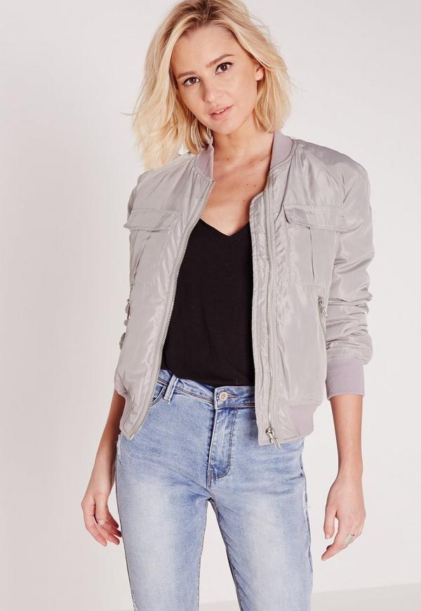 utility bomber jacket light grey | Missguided