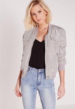 utility bomber jacket light grey