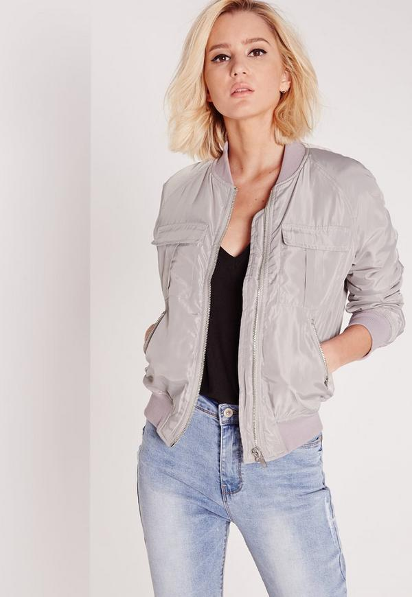 Utility bomber jacket light grey | Missguided