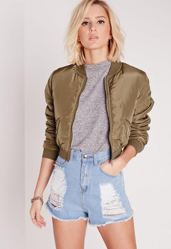 Cropped Bomber Jacket Khaki
