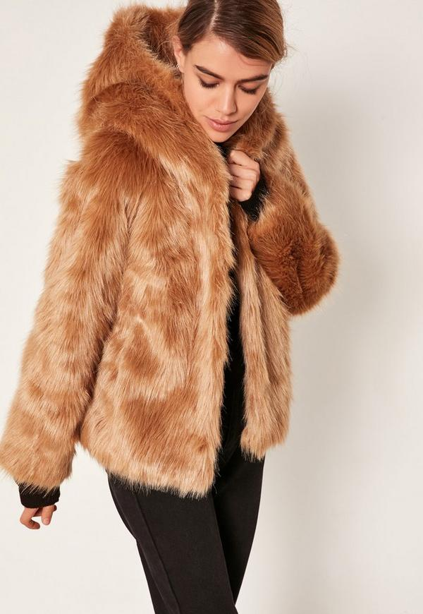 Nude Hooded Faux Fur Coat - Missguided