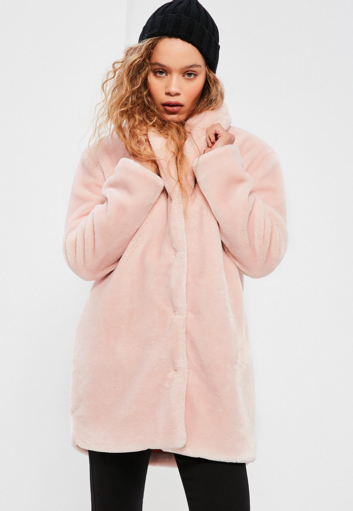 Pink Pressed Faux Fur Coat - Missguided
