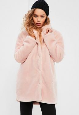 Pink Pressed Faux Fur Coat