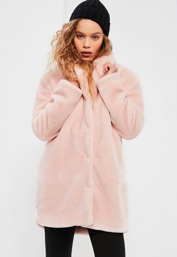 Pink Pressed Faux Fur Coat