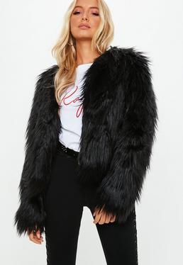 Black Shaggy Faux Fur Coat