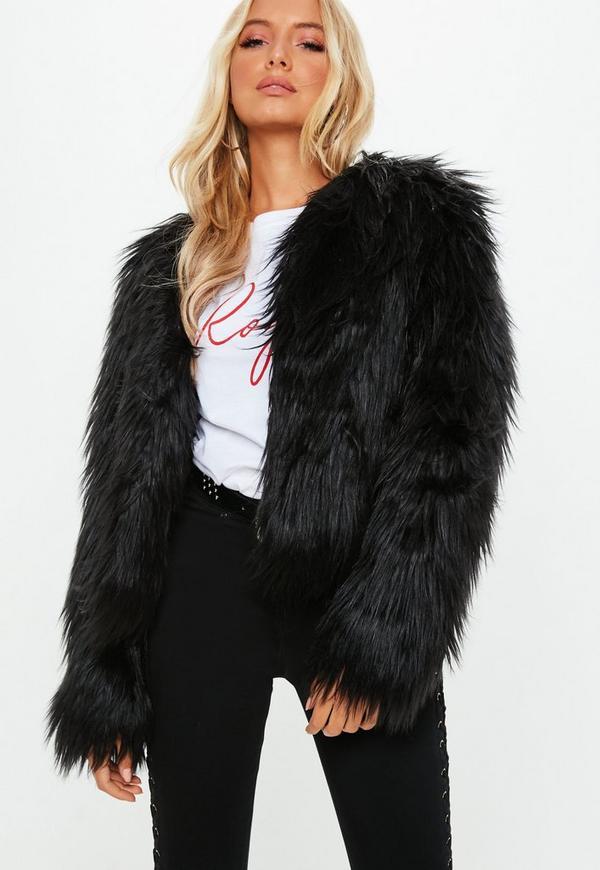Shaggy Faux Fur Coat Black