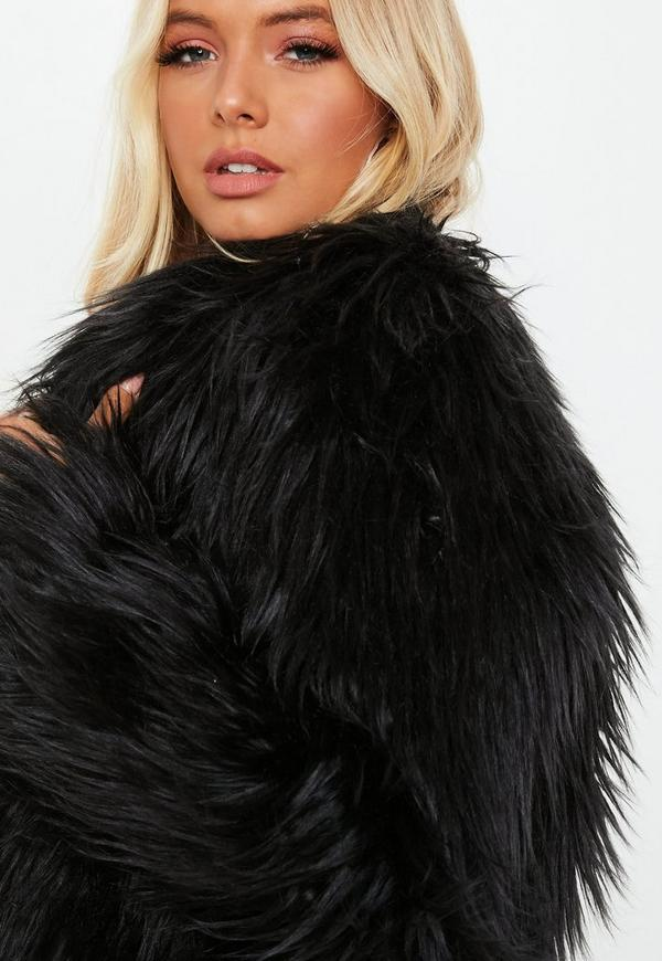 489fc8928d2 Black Shaggy Faux Fur Coat. Previous Next