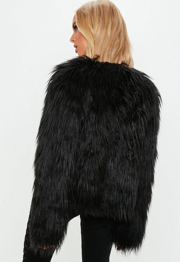 manteau noir en fausse fourrure missguided. Black Bedroom Furniture Sets. Home Design Ideas