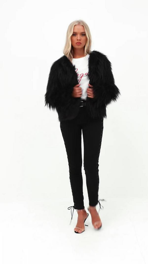 Shaggy Faux Fur Coat Black - Missguided