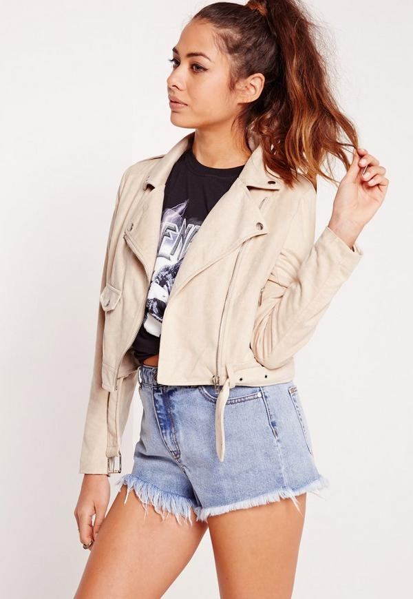 Faux Suede Biker Jacket Cream