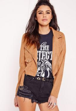 Faux Suede Biker Jacket Tan