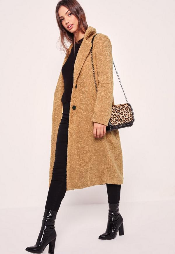 Longline Faux Shearling Coat Camel