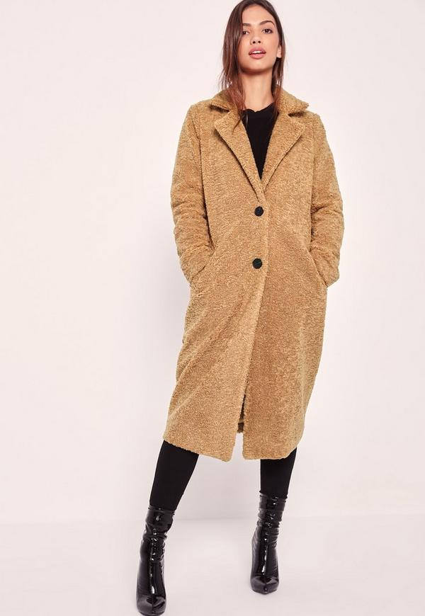 Longline Faux Shearling Coat Camel - Missguided