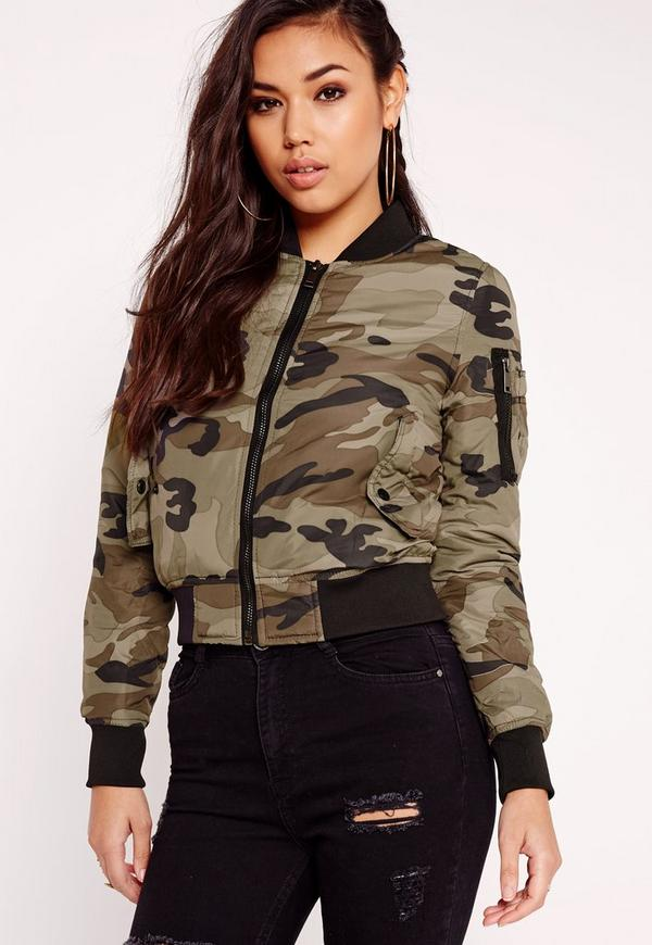 Camo Bomber Jacket Khaki Missguided