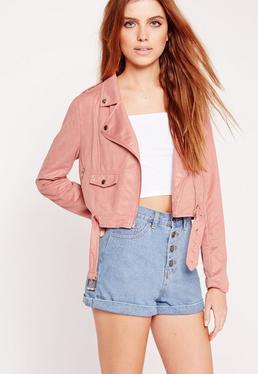 Faux Suede Biker Jacket Pink