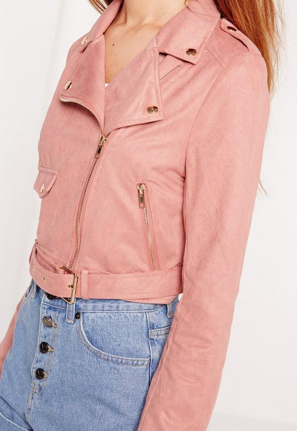 Pink Faux Suede Biker Jacket | Missguided