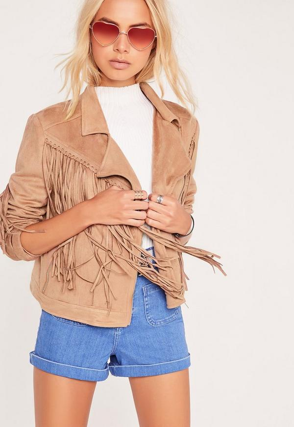 Fringe Long Sleeve Faux Suede Biker Jacket Nude