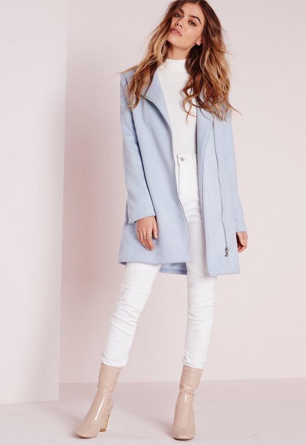 Longue veste en faux daim bleu clair missguided - Comment nettoyer une veste en daim ...