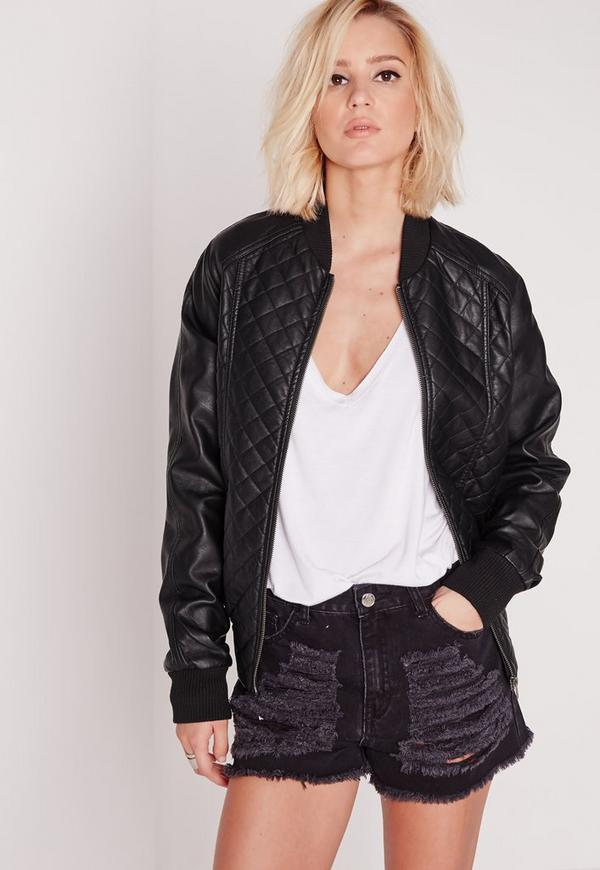 Quilted Faux Leather Bomber Jacket Black
