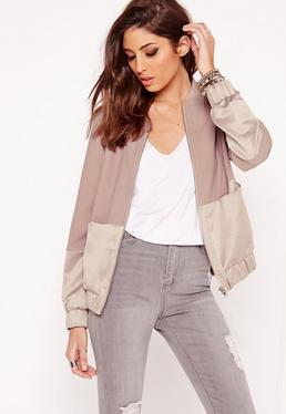 Satin Two Tone Bomber Jacket Mauve