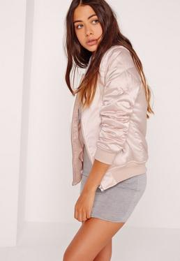 satin quilted sleeve bomber jacket pale pink