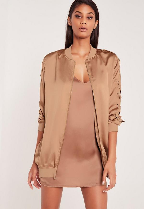Carli Bybel Longline Lace Up Bomber Jacket Rose Gold