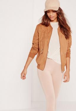 Faux Suede Zipped Bomber Jacket Tan