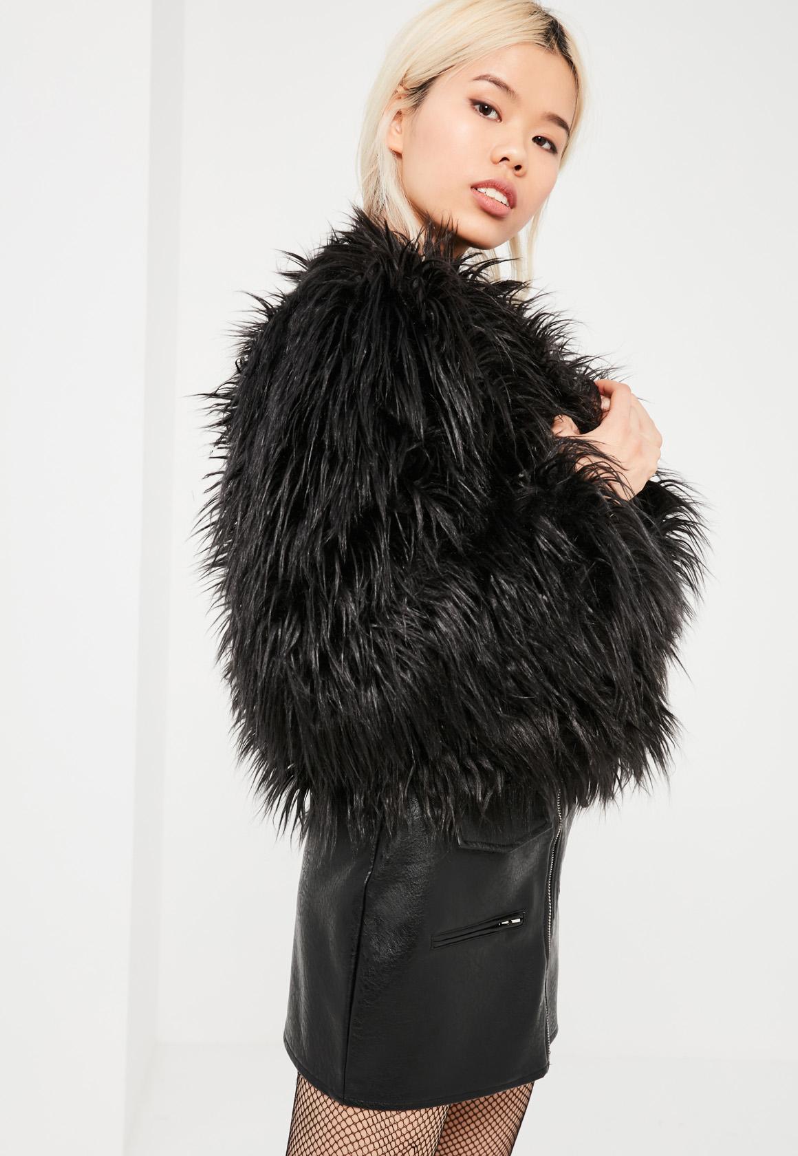black faux fur coat collarless