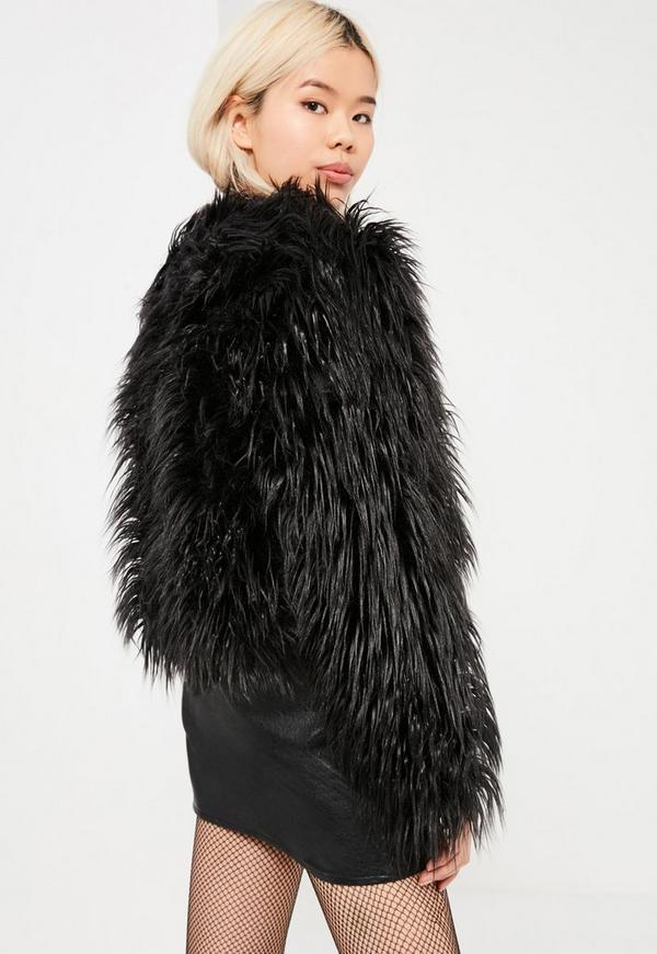 Black Mongolian Faux Fur Coat | Missguided