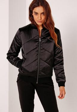 Satin Quilted Bomber Jacket Black