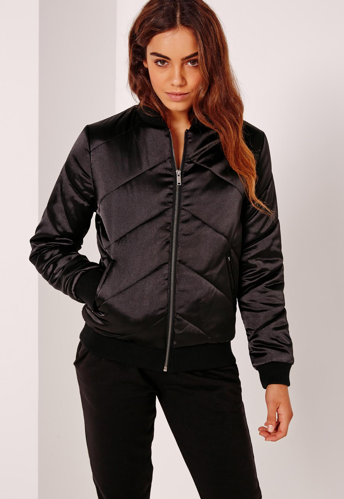 Satin Quilted Bomber Jacket Black - Missguided