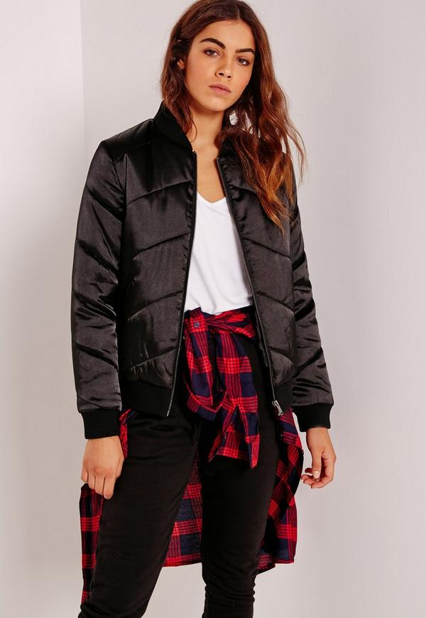 Satin Quilted Bomber Jacket Black | Missguided