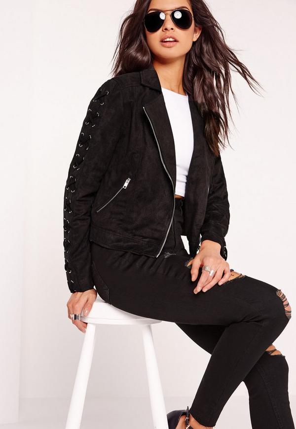 veste biker en faux daim noir manches lac es missguided. Black Bedroom Furniture Sets. Home Design Ideas