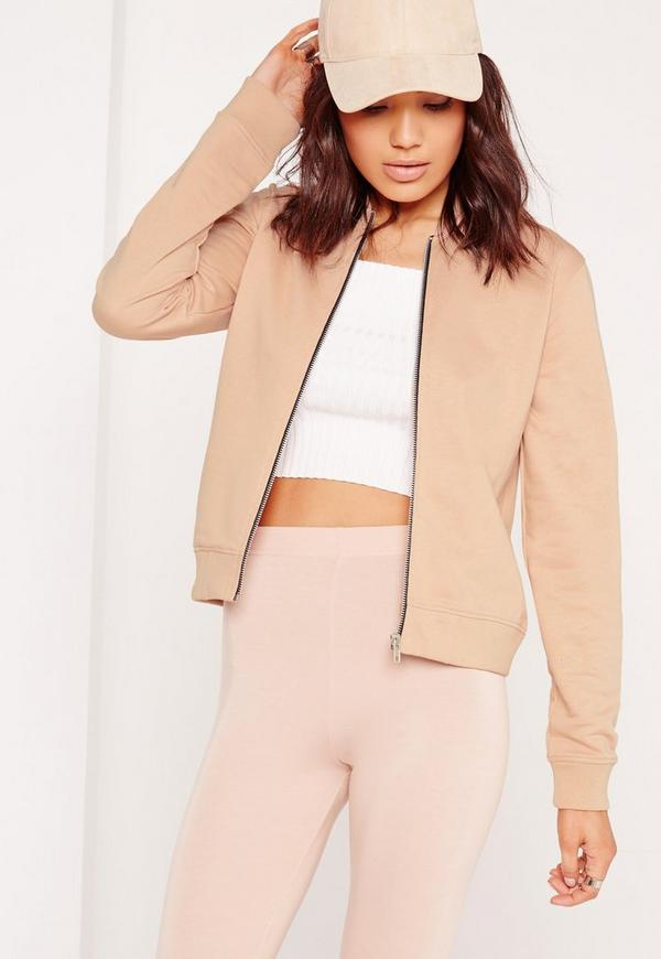 Jersey Bomber Jacket Nude