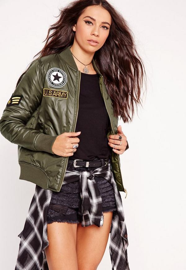 Badge Bomber Jacket Khaki