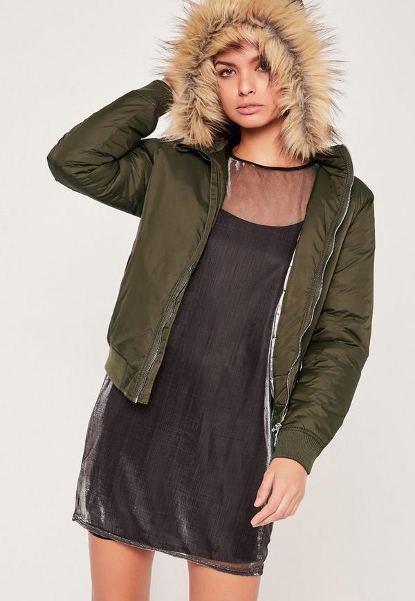 Sixth June parka coat in black with black faux fur hood. $ Farah Erskine hooded fishtail parka in green. $ Bershka hooded padded parka in khaki. $ ASOS DESIGN parka jacket with faux fur trim in tobacco. $ ASOS DESIGN longline parka jacket with faux fur trim in red.