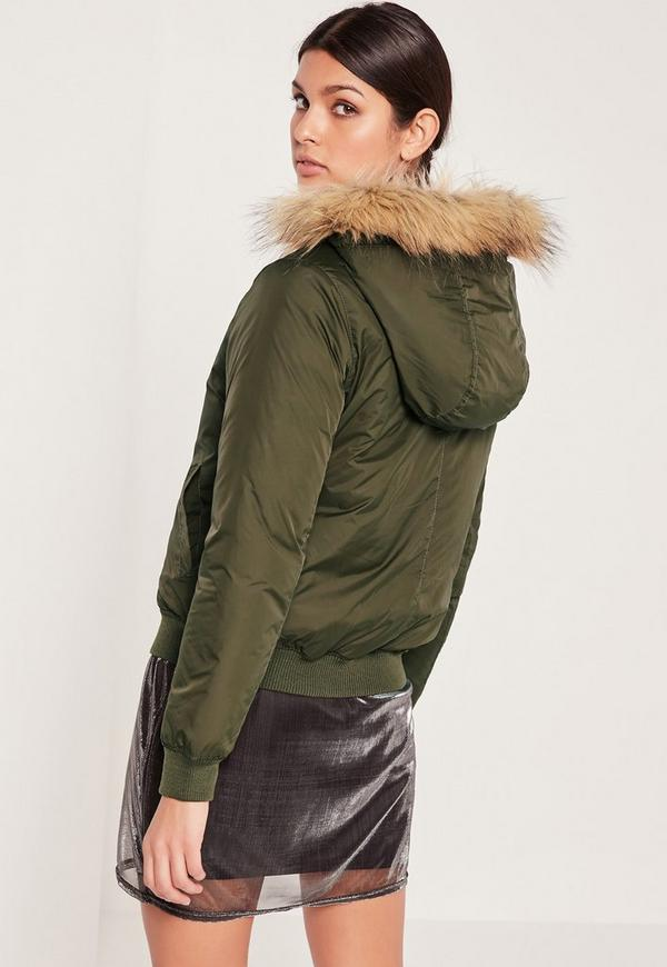 Faux Fur Hood Padded Bomber Jacket Khaki | Missguided