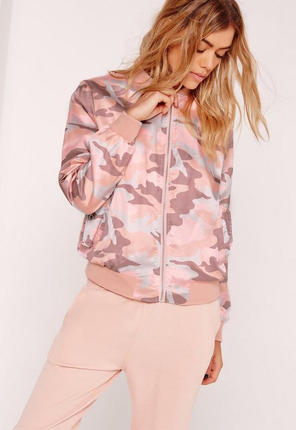 Pink Satin Camo Bomber Jacket Pink