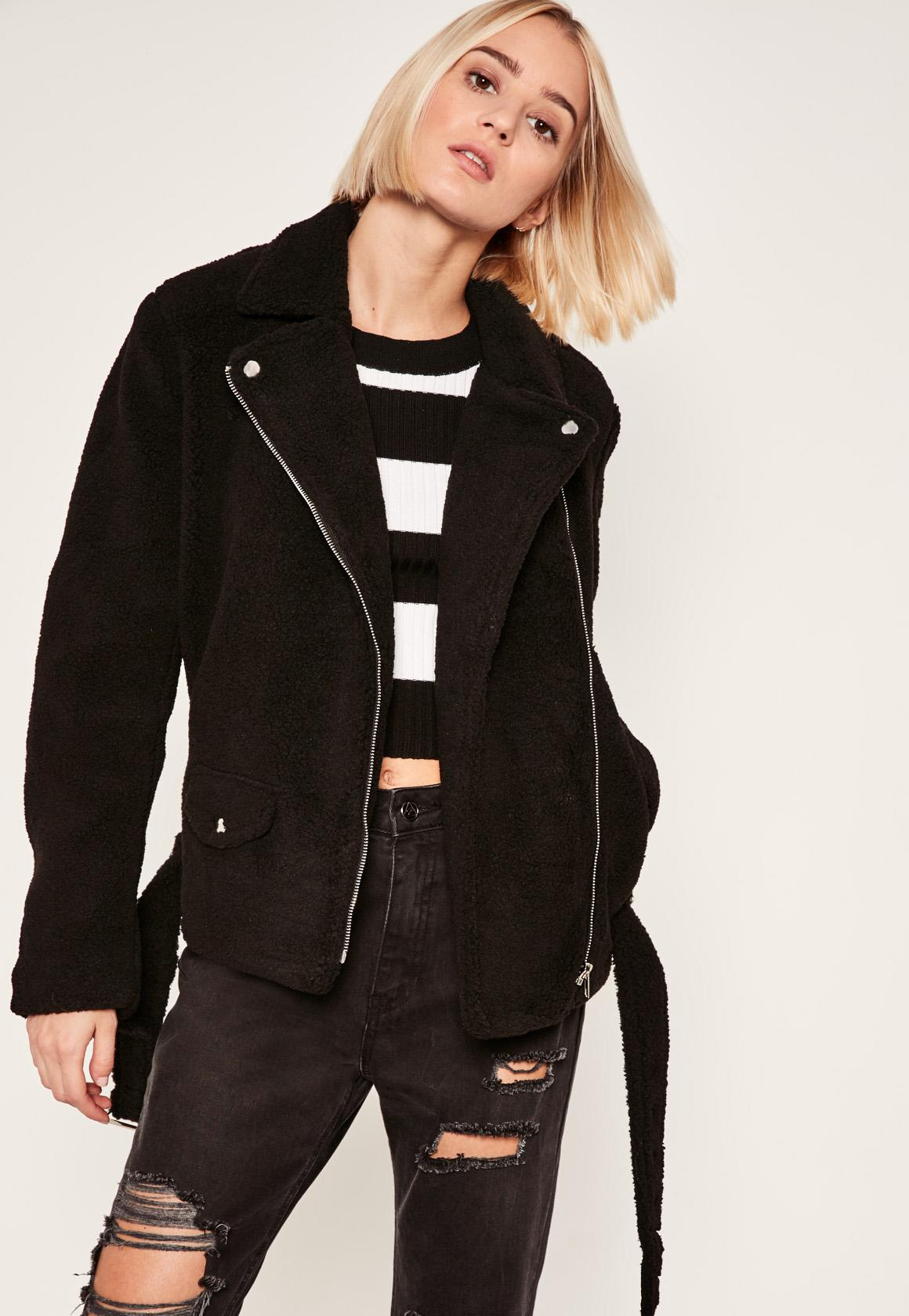 Black Faux Shearling Biker Jacket - Missguided