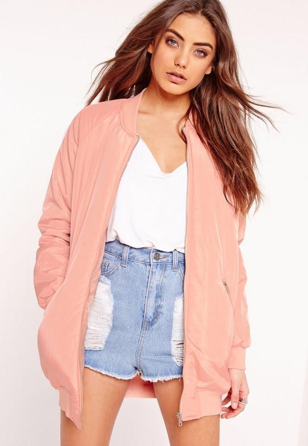 Longline Padded Bomber Jacket Pink